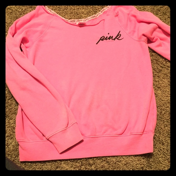 83% off PINK Victoria's Secret Tops - Oversized PINK Sweater from ...